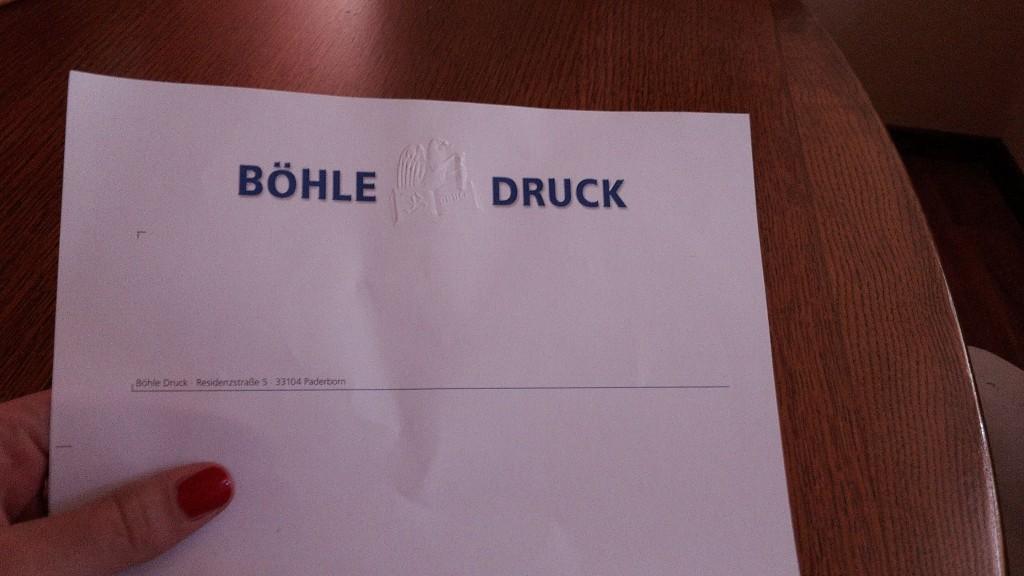 Briefpapier mit Pägung